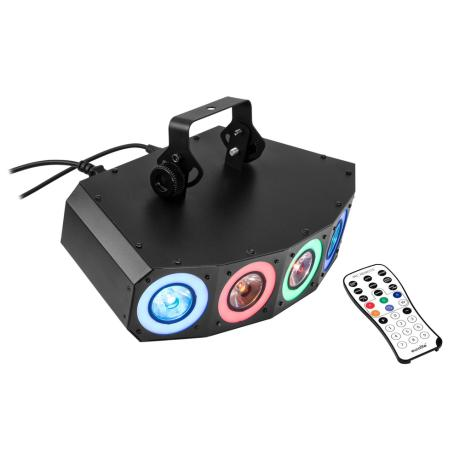 EUROLITE 2IN1 LED EFFECT LIGHT WITH RGBAW+UV LEDS, DYNAMIC COLOR EFFECTS AND STROBOSCOPE