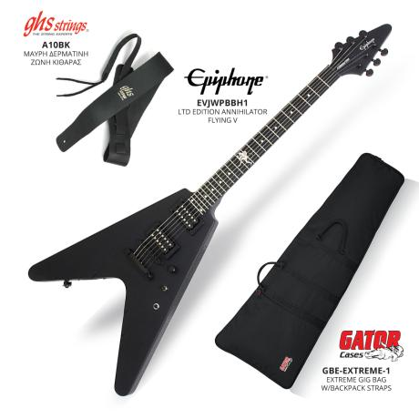 EPIPHONE LTD EDITION ANNIHILATOR FLYING V+GIG BAG+LEATHER BELT BLACK