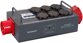 WORK 16 A TRI-PHASE POWER SPLITTER ,LINKED CEE (5PIN) I/O CONNECTORS AND 6 SCHUKO OUTPUTS WITH SAFETY LID.