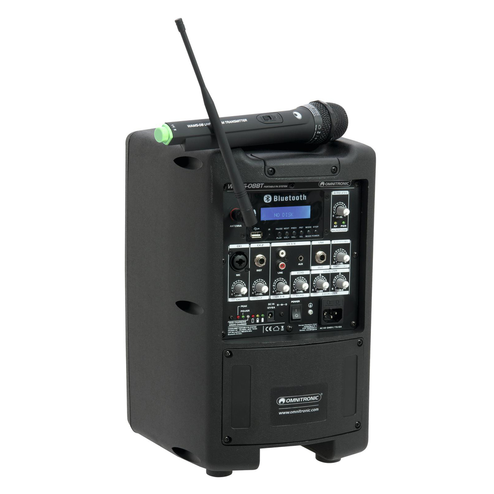 OMNITRONIC PORTABLE WIRELESS ACTIVE SPEAKER PA SYSTEM 8''